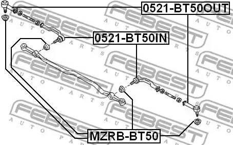 Febest MZRB-BT50 - Ремкомплект, наконечник поперечной рулевой тяги mavto.com.ua