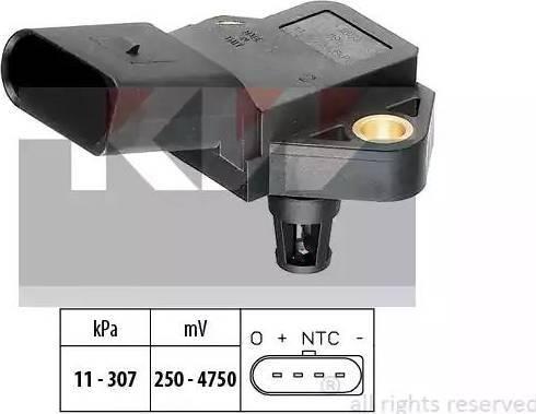 KW 493 075 - Датчик, давление выхлопных газов mavto.com.ua