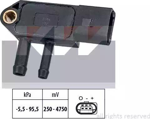 KW 493 264 - Датчик, давление выхлопных газов mavto.com.ua