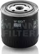 Mann-Filter W 920/7 - Фильтр, Гидравлическая система привода рабочего оборудования mavto.com.ua