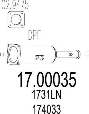 MTS 17.00035 - Сажевый / частичный фильтр, система выхлопа ОГ mavto.com.ua