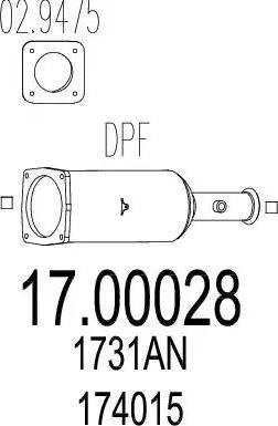 MTS 17.00028 - Сажевый / частичный фильтр, система выхлопа ОГ mavto.com.ua