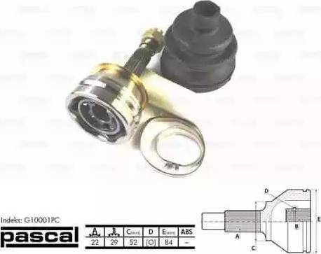 Pascal G10001PC - Шарнирный комплект, ШРУС, приводной вал mavto.com.ua