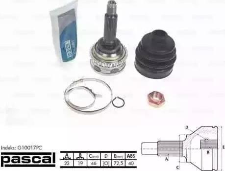 Pascal G10017PC - Шарнирный комплект, ШРУС, приводной вал mavto.com.ua