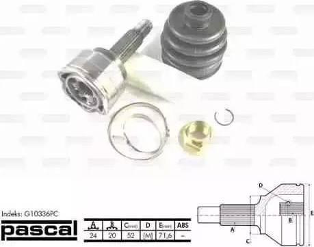 Pascal G10336PC - Шарнирный комплект, ШРУС, приводной вал mavto.com.ua